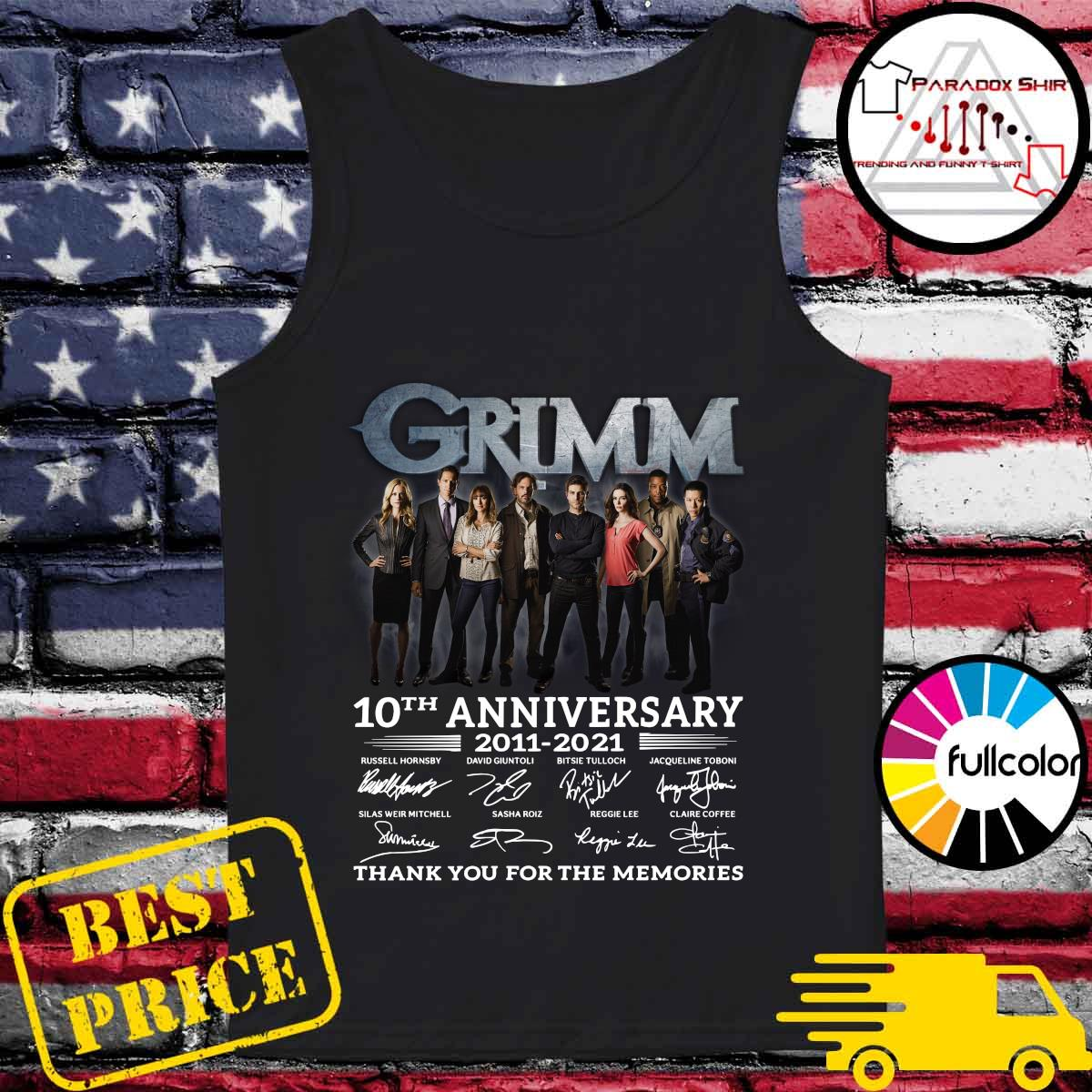 Grimm 10th Anniversary 2011 2021 Thank You For The Memories Signatures Shirt Tank-top