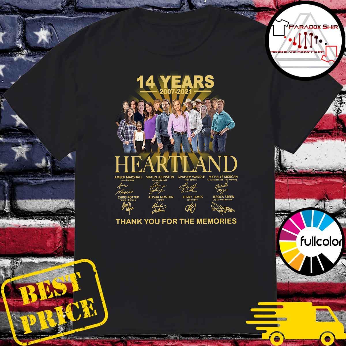 Heartland 14 Years 2007 2021 Signatures Thank Shirt