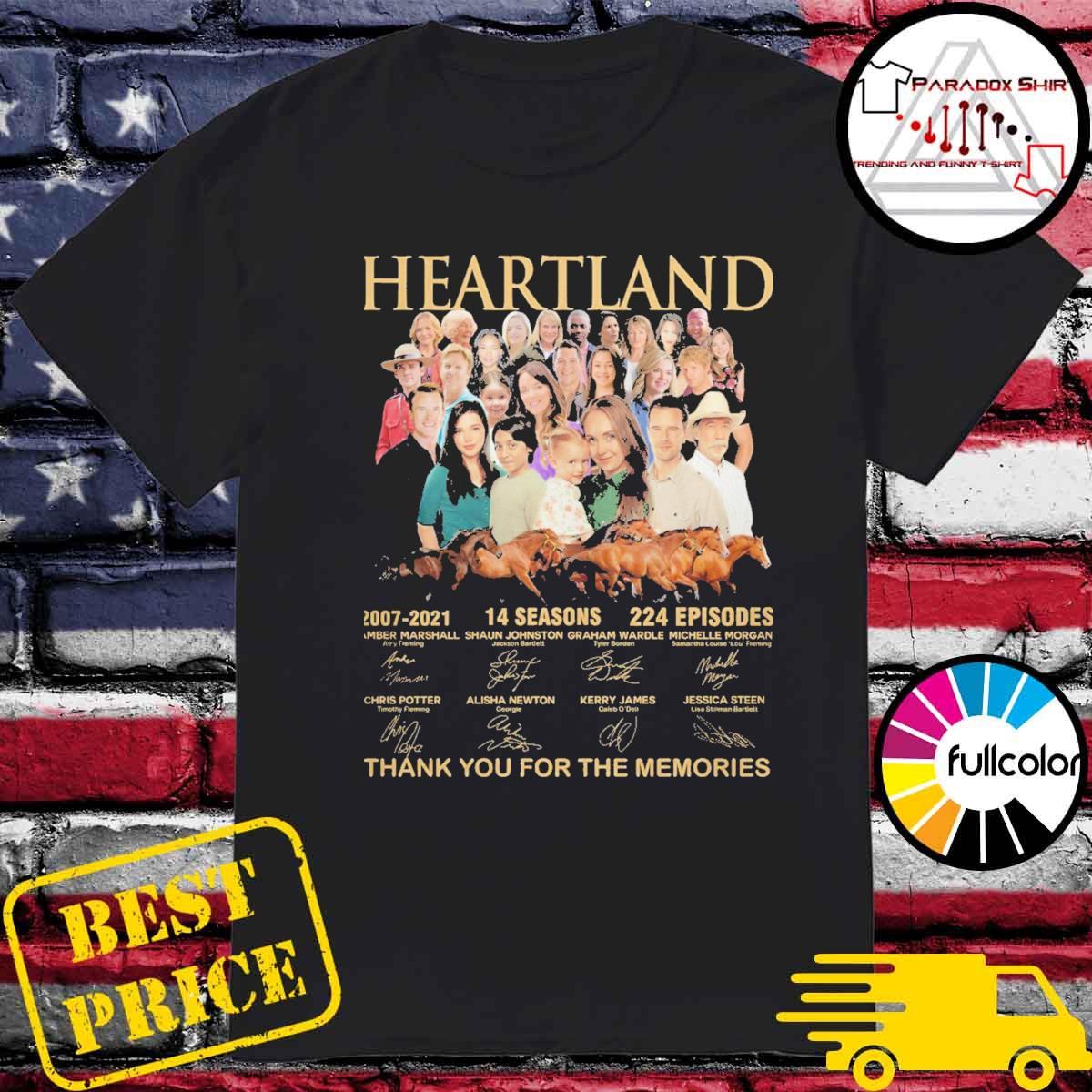 Heartland 2007 2021 14 seasons 224 episodes signatures thank you for the memories shirt