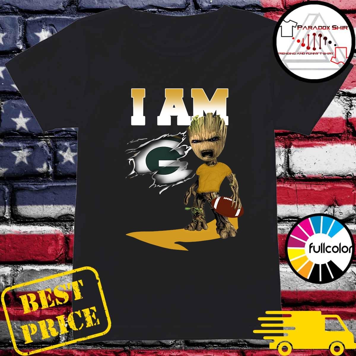 I Am Green Bay Packers Groot Shirt Ladies