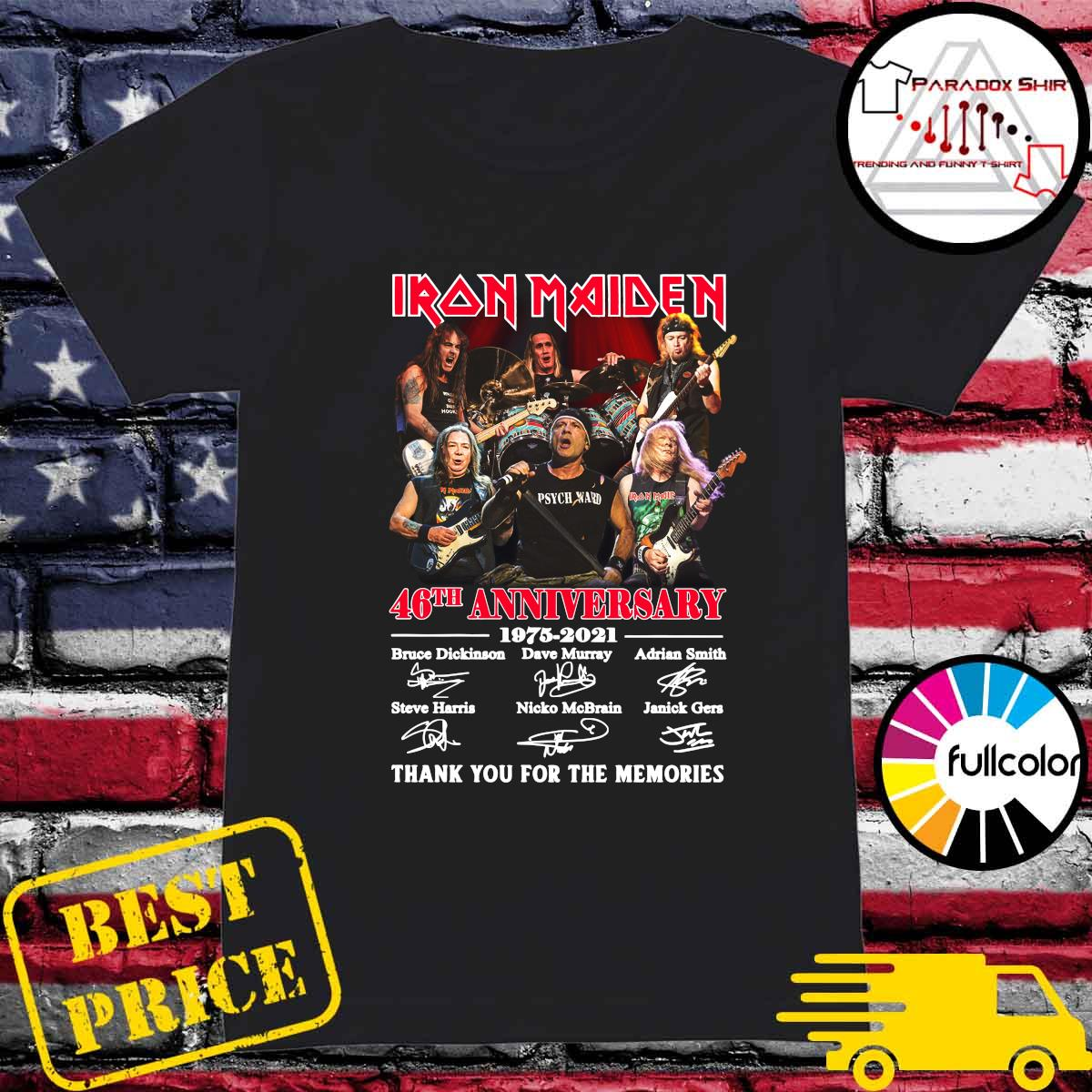 Iran Maiden 46th Anniversary 1975 2021 Thank You For The Memories Signatures Shirt Ladies