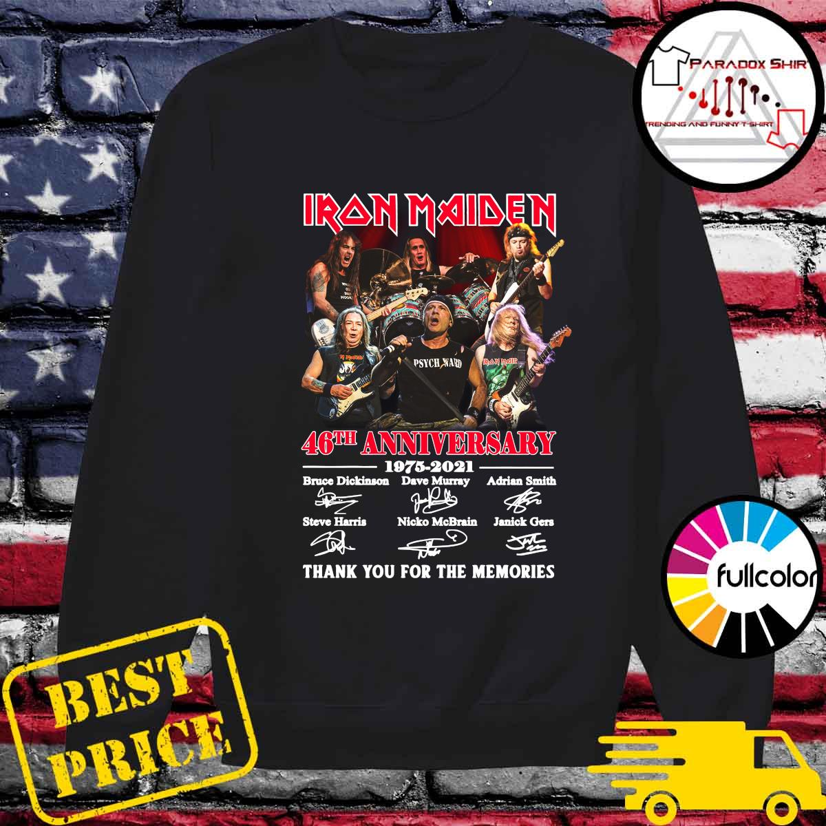 Iran Maiden 46th Anniversary 1975 2021 Thank You For The Memories Signatures Shirt Sweater