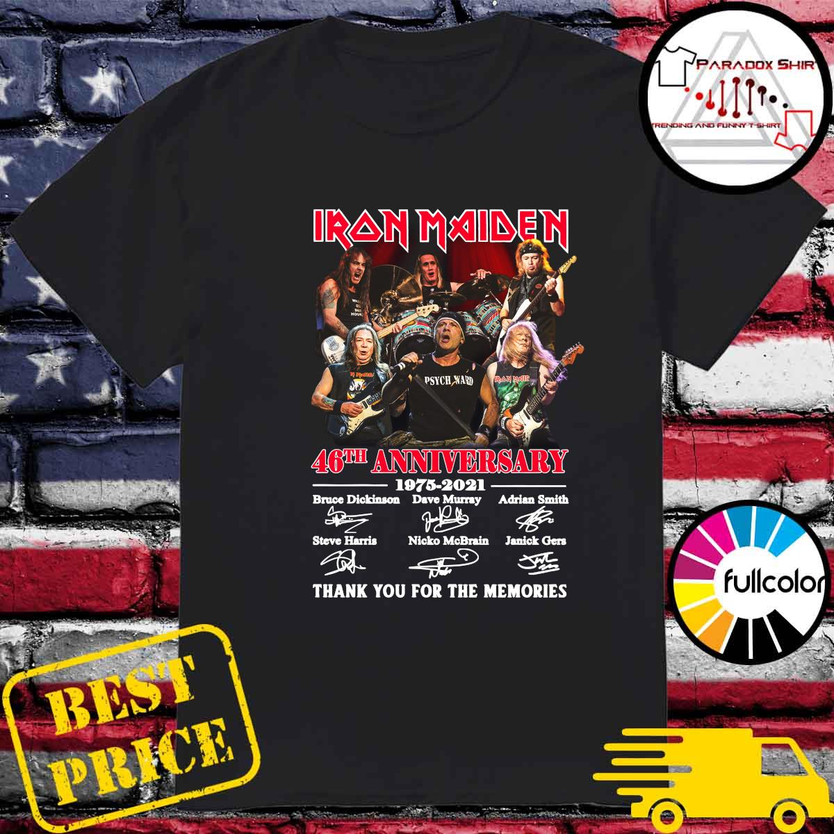 Iran Maiden 46th Anniversary 1975 2021 Thank You For The Memories Signatures Shirt