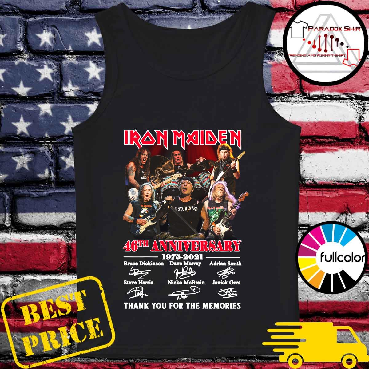 Iran Maiden 46th Anniversary 1975 2021 Thank You For The Memories Signatures Shirt Tank-top