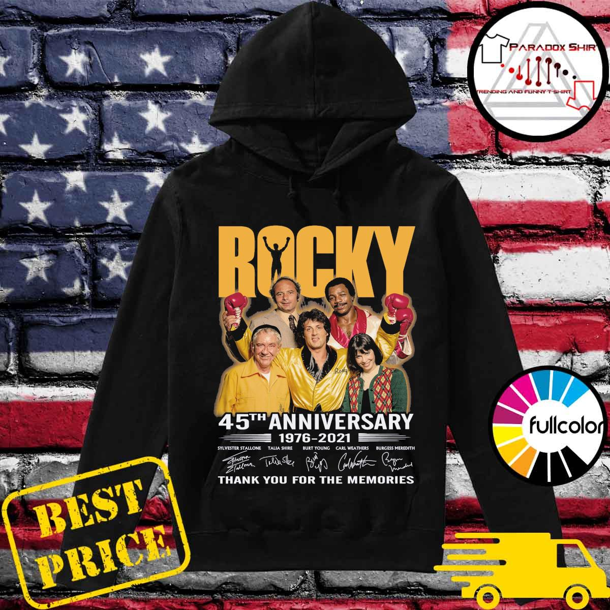 Rocky movie 45th Anniversary 1976 2021 signatures thank you for the memories s Hoodie