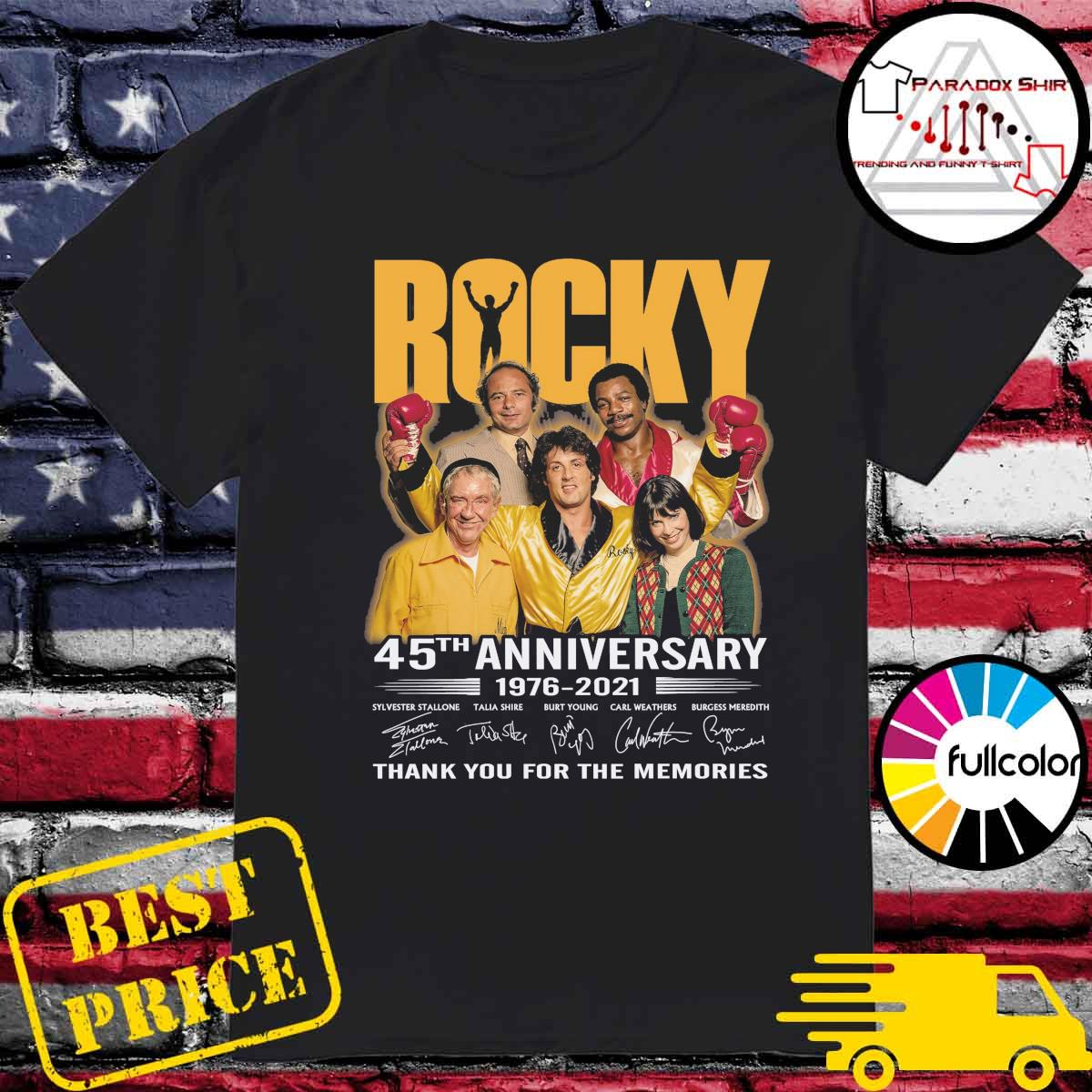Rocky movie 45th Anniversary 1976 2021 signatures thank you for the memories shirt