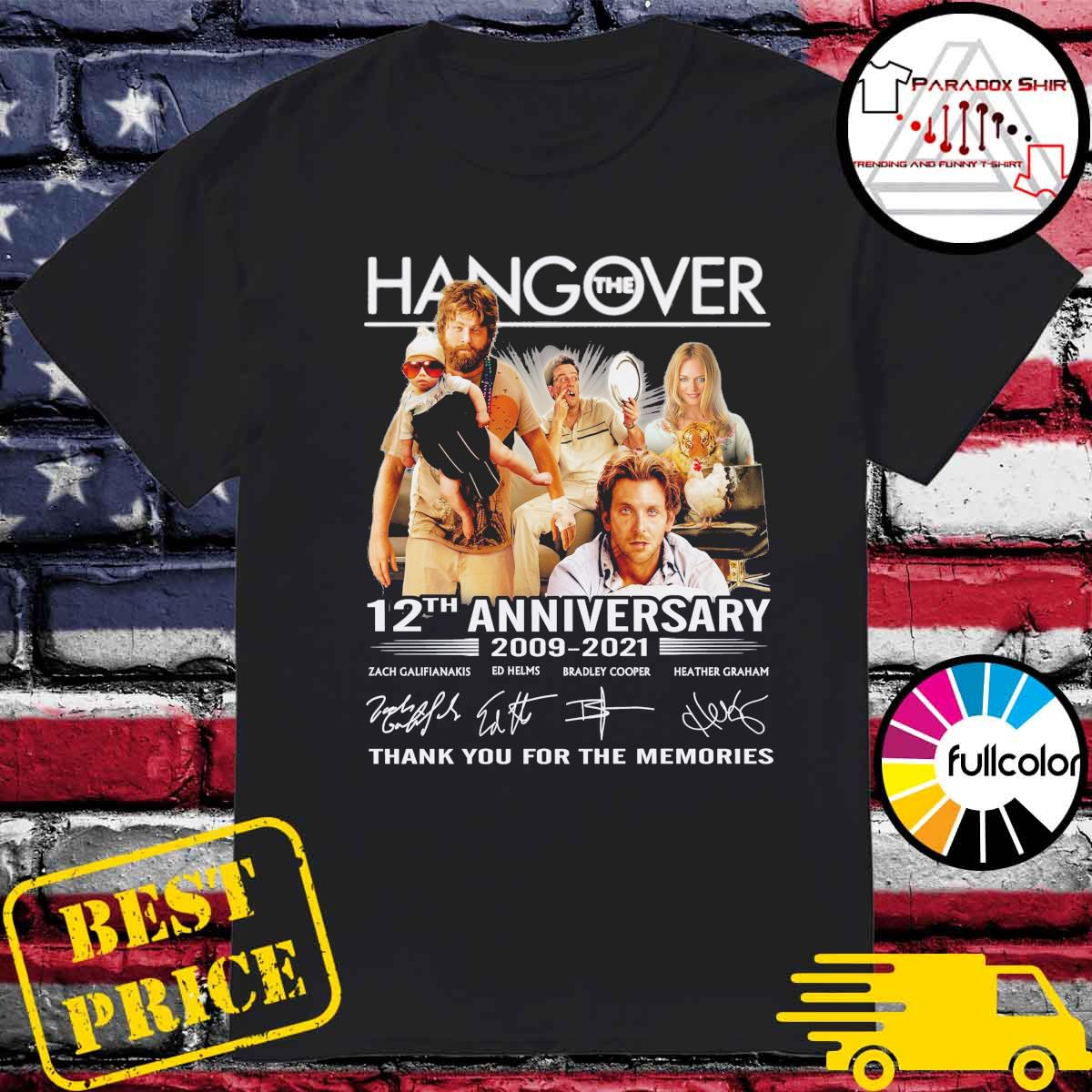 The Hangover movie 12th Anniversary 2009 2021 signatures thank you for the memories shirt